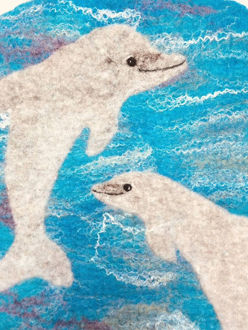 "Original felted ""Frolicking dolphins"" hottie cover"