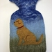 """Original felted """"Dog with a red collar"""" hottie cover"""
