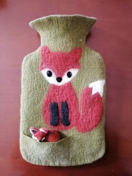 "Original felted ""Fox with a friend"" hottie cover"