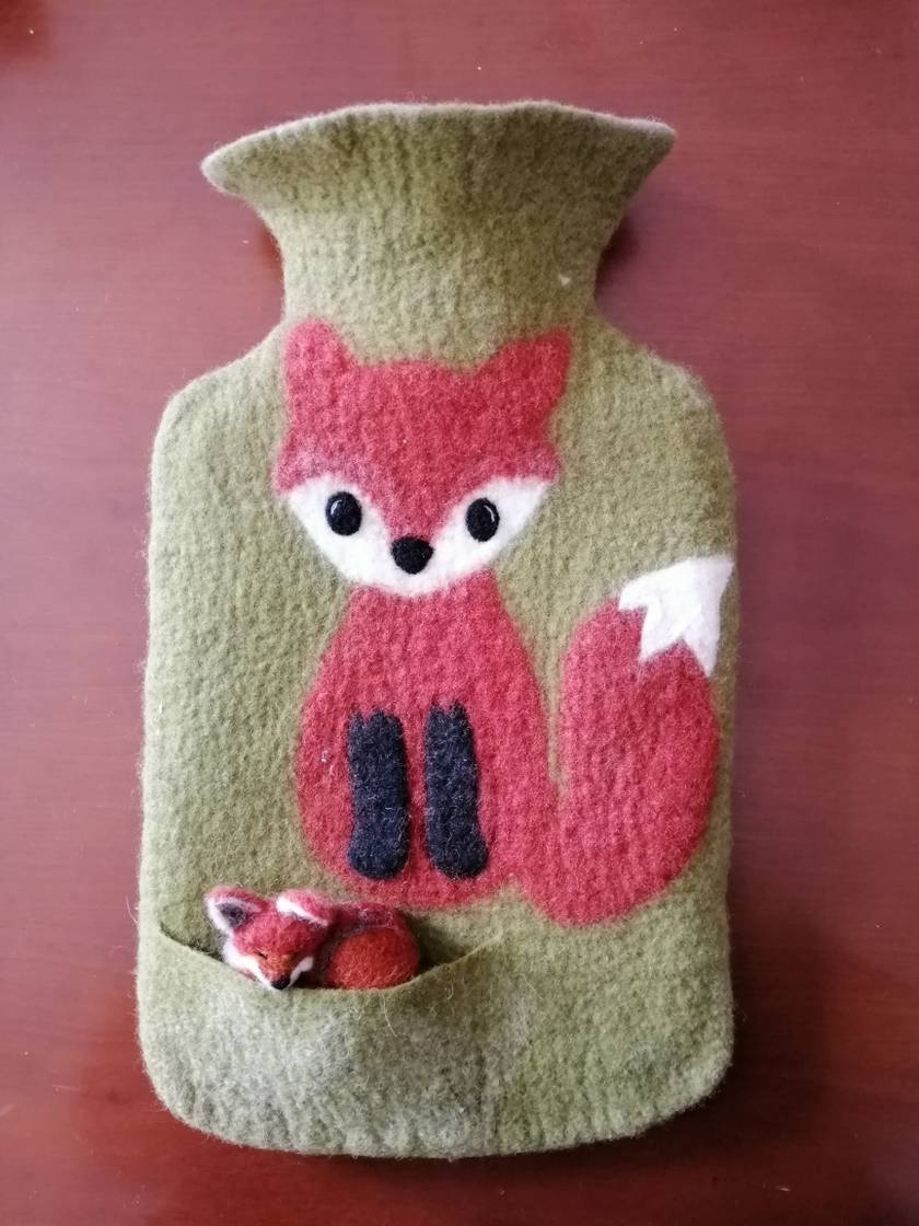"""Original felted """"Fox with a friend"""" hottie cover"""