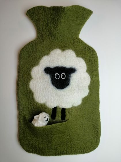 "Original felted ""Sheep with a friend"" hottie cover"
