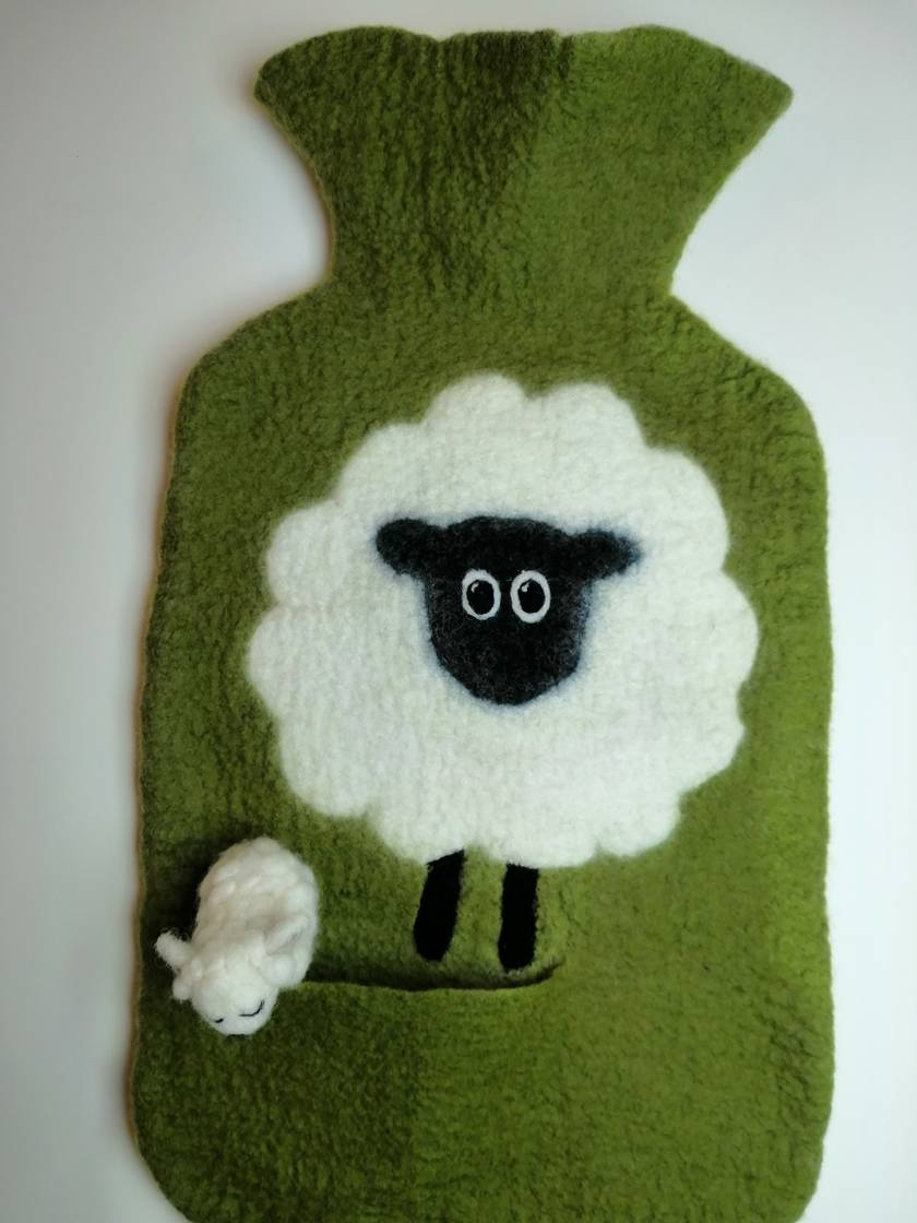 """Original felted """"Sheep with a friend"""" hottie cover"""