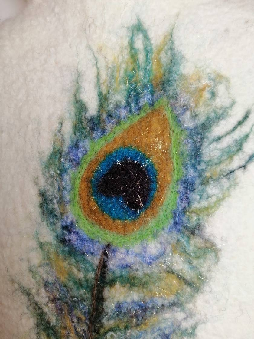 "Original felted ""Peacock feather"" hottie cover"