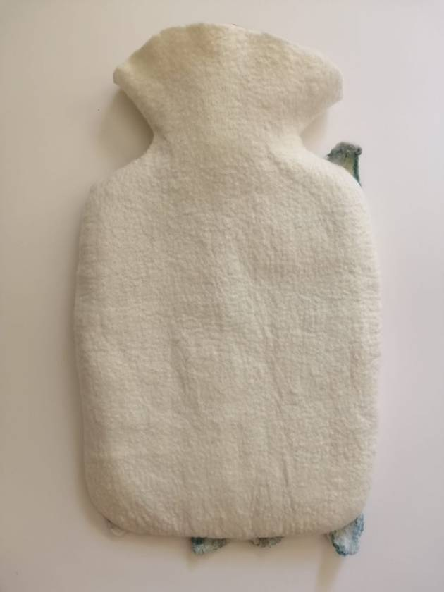 """Original felted """"Frilly"""" hottie cover"""