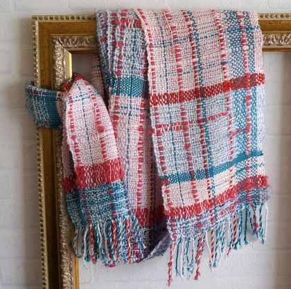 Textured, plaid, winter scarf with cozy feel.