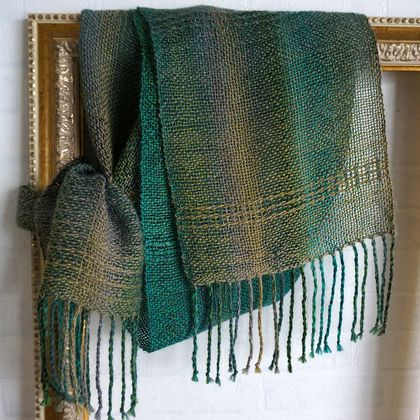 Luxurious, unisex, handwoven, scarf, in greens and beige/stone tones, wool mix.