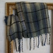 warm unisex handwoven winter scarf with plaid pattern in blue, cream & black 100% fine wool..