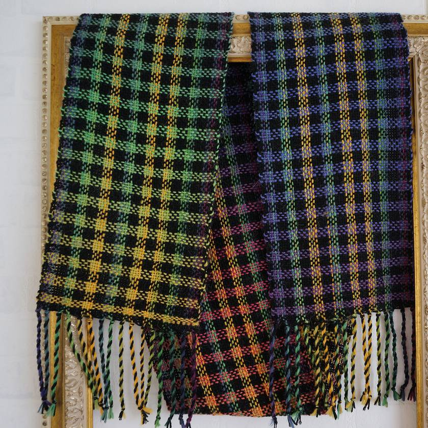 Warm handwoven winter check scarf in black with multi colored check 50/50 Wool Acrylic.