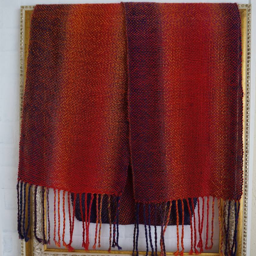Luxurious, unisex, handwoven, scarf, in eye-catching reds and purples, fine wool blend