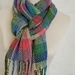 Handwoven Plaid scarf, Acrylic unisex winter scarf in blue, cream, greens & pinks with a soft cozy feel
