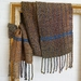 Luxurious, unisex, handwoven, scarf with tweed look in natural stone, blue, & soft green, soft wool mix.