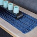 Long Handwoven, textured, Navy blue color, table runner, table protector.
