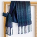 Luxurious scarf, unisex, handwoven soft scarf, in  blues & teals, fine wool mix.