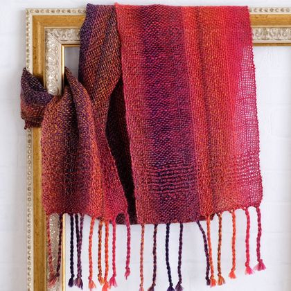 Luxurious scarf, unisex, handwoven soft scarf, in  reds,orange & purples, fine wool mix.