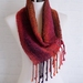 Luxurious scarf, unisex, handwoven soft scarf, in  reds,orange & purples, fine wool mix.