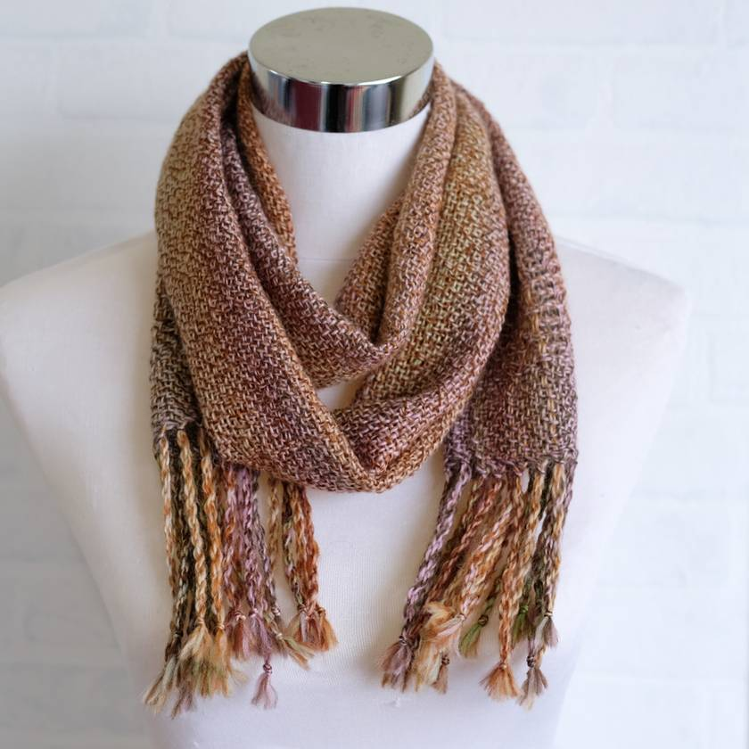 Luxurious, unisex, handwoven, scarf, in beige, green & pinks , fine wool mix.