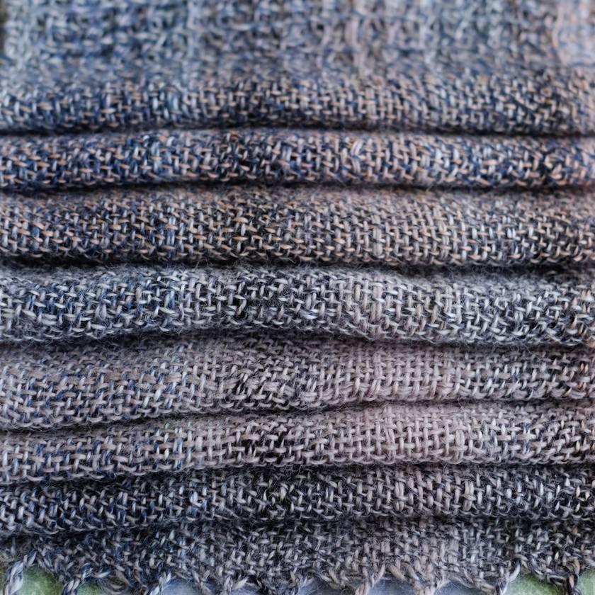 Fine wool, unisex scarf, handwoven soft  wool in  grey, beige & blues.