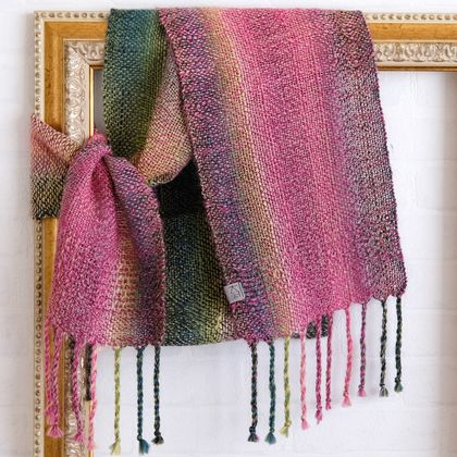 Fine wool, unisex scarf, handwoven soft  wool in  green, pink & grey.