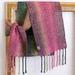 Fine wool, unisex scarf, handwoven soft  wool in  green, pink & grey.