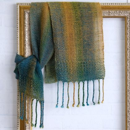 Fine wool, unisex scarf, handwoven soft  wool in teal, green & yellow tones