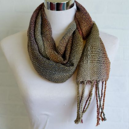 Fine wool, unisex scarf, handwoven soft wool in Soft Olive green, blue, copper & more Autumn tones.