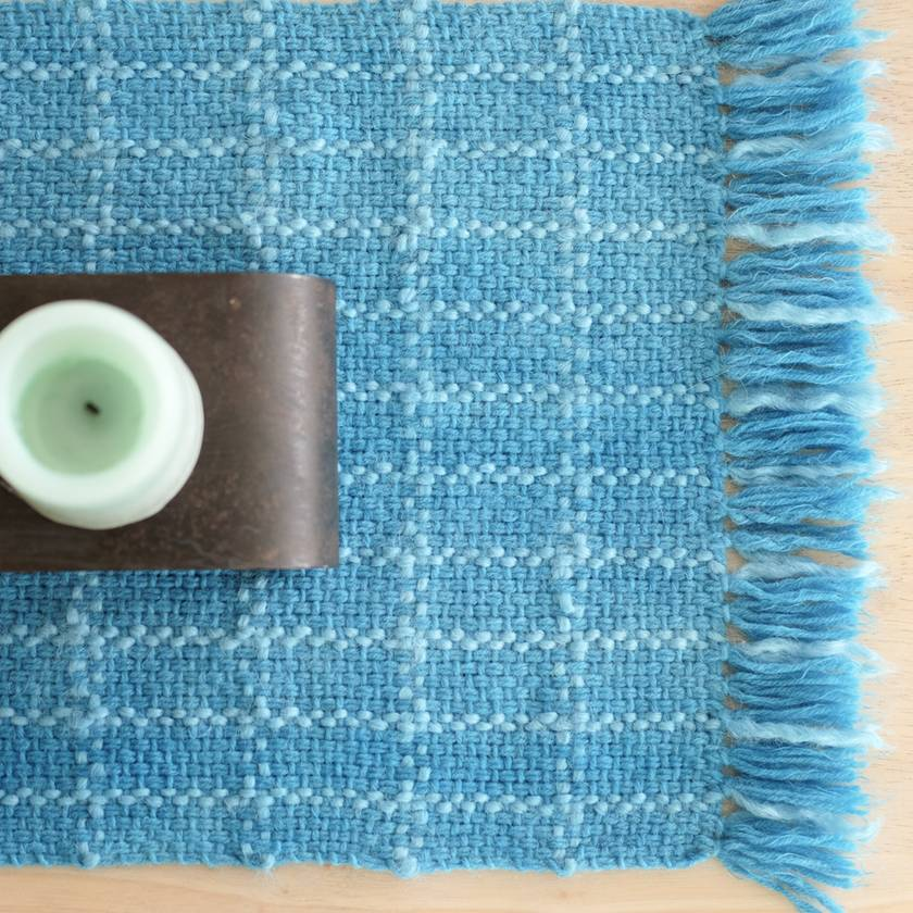 Medium Handwoven table runner or table protector in mottled Teals with contrast check highlights
