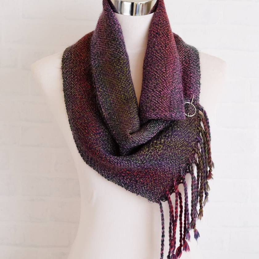 Luxurious scarf, unisex, handwoven soft scarf, in purples, pink, green & more, fine wool mix.