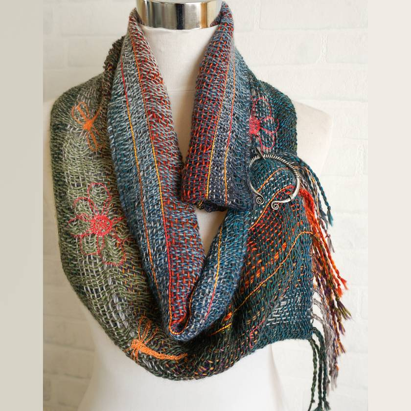 Fine wool scarf in amazing greens and oranges blends.
