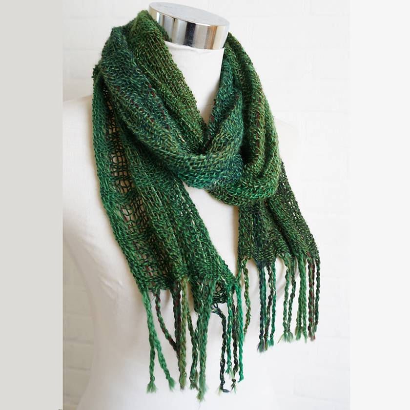 Masculine, Permanent crease scarf, Fine wool scarf in greens.