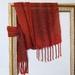 Red, orange & Rust wool scarf, Hand woven in luxurious fine wool yarn.