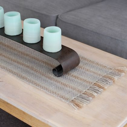 Med Handwoven, textured table runner in natural stripes