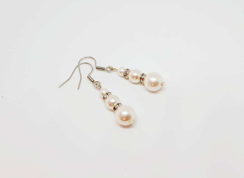 3 White Pearls and Crystal Earrings - The Pearl Weaver
