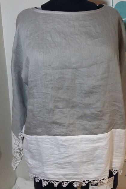 Linny T -linen top Silver Large