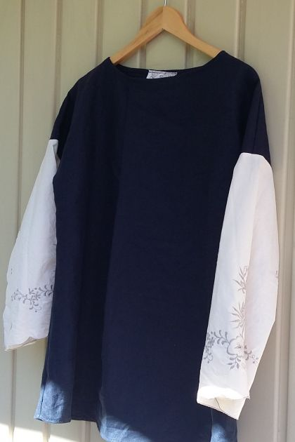 Compleat linen tunic navy and off-white one size