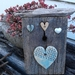 Aged wood and ceramic heart wall plaque