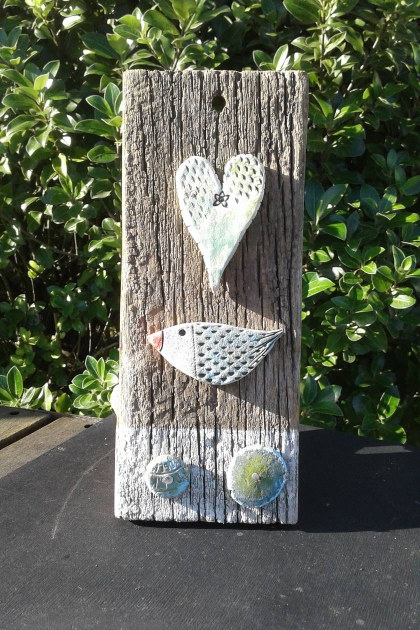 wood and ceramic wall plaque