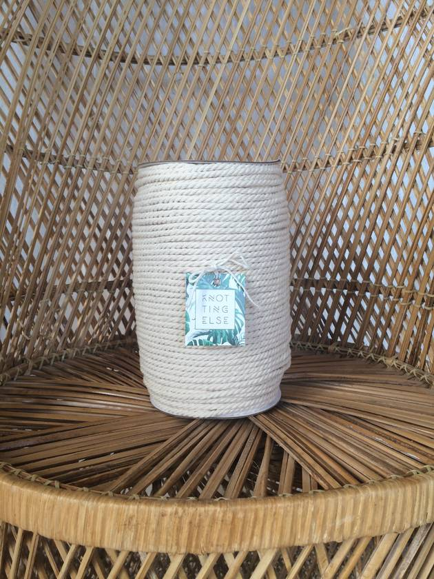3-Strand Cotton Rope || Color: Raw (Natural, Unbleached) || 5 mm || Macrame, Craft, Rope, Fiber, Cord, Supplies, String, 3 Ply Twisted