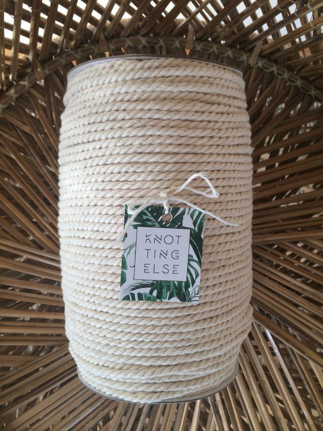 3-Strand Cotton Rope    Color: Raw (Natural, Unbleached)    5 mm    Macrame, Craft, Rope, Fiber, Cord, Supplies, String, 3 Ply Twisted