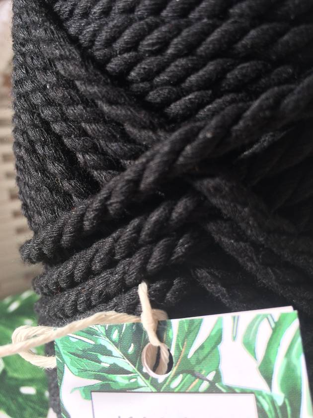 3-Strand Cotton Rope || Color: Black || 6 mm || Macrame, Craft, Rope, Fiber, Cord, Supplies, String, 3 Ply Twisted