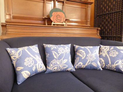 Two Spanish Blue Cushions