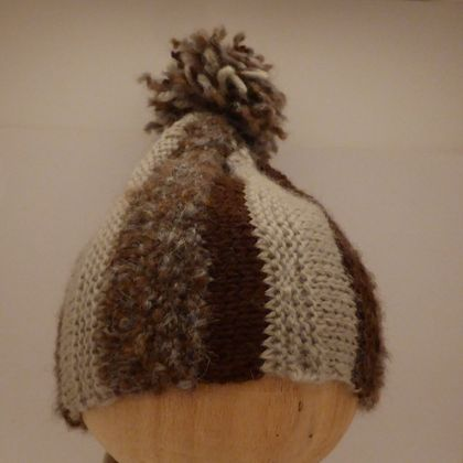 Stripy Brown Pompom Hat