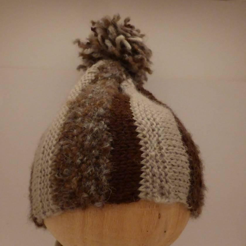 Stripy Brown Pompom Hat