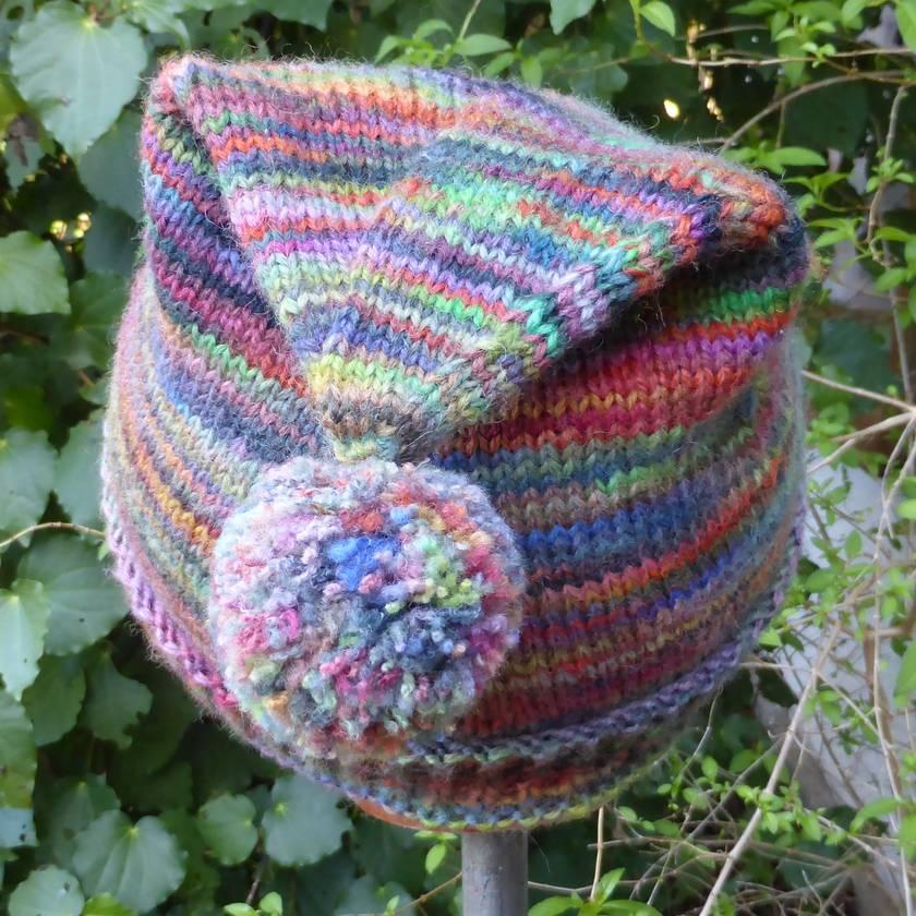 Funky Stripy Pompom Hat