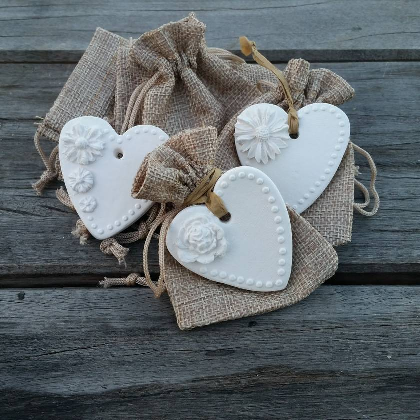 Wedding favour heart with pouch.