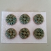 6 beautiful stoneware flower buttons