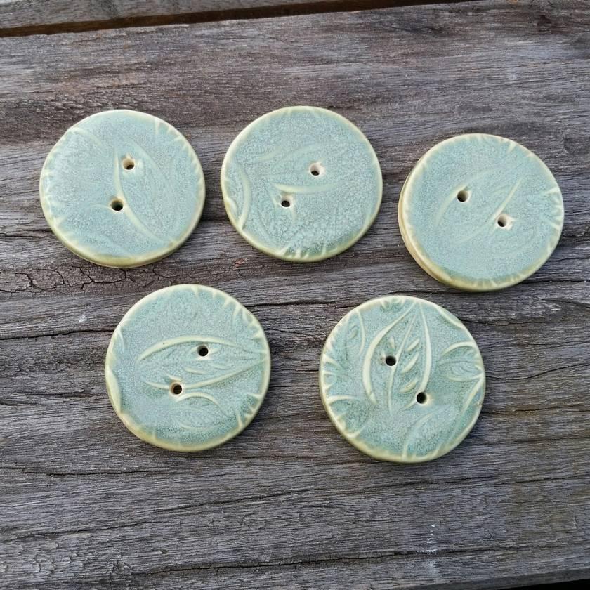 5 Beautiful Green Buttons -Slight Seconds