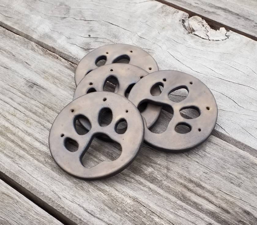Ceramic Dog Paw Coasters - Marvellously Metallic