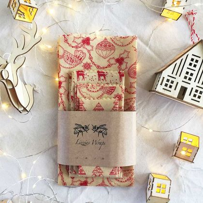 Christmas Beeswax Wraps 4 Pack