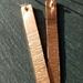 Copper long drop textured earrings