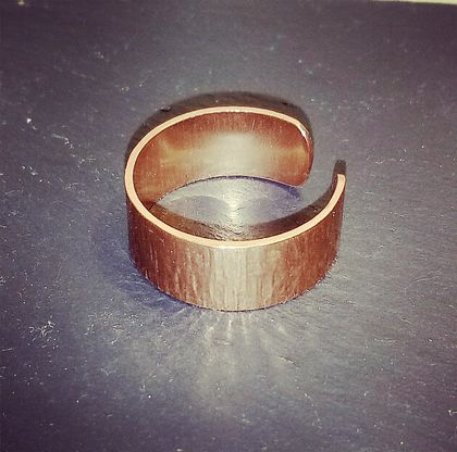Textured wide open  copper ring